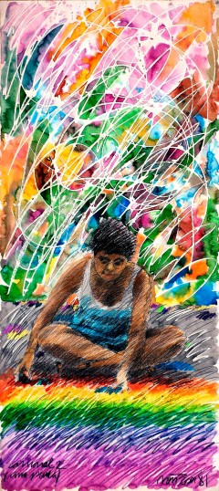 """"""" Ana Paula"""".  Acrílica sobre papel. 170,0 x 100,0 cm, 1981.  Obra exibida na exposição """"Gesto de Gente""""."""