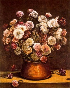 Giorgio de Chirico - Still life with flowers in copper bowl - 1965
