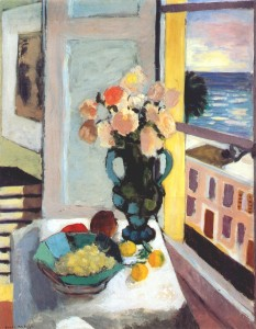 Matisse - Saffron roses in front of the window