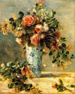 RENOIR - Roses and Jasmine in a delft vase - 1881
