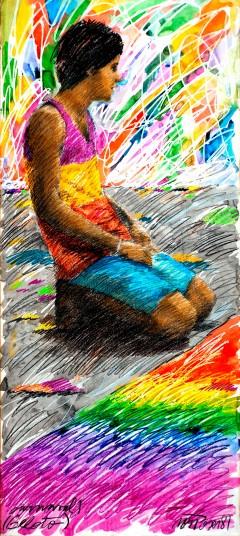 """"""" Beloto"""".  Acrílica sobre papel. 170,0 x 100,0 cm, 1981. Obra exibida na exposição """"Gesto de Gente"""" ."""