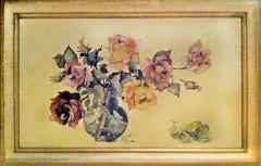 Aquarela de rosas pintadas pela avó Edith.